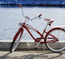 Red Bike on Dock by Stephen Mitchell
