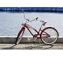 Red Bike on Dock Photographic Print