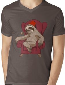 Sophisticated Sloth Mens V-Neck T-Shirt