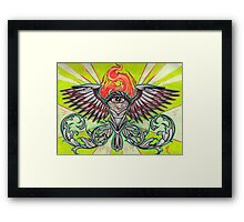 torch with eye and flames Framed Print