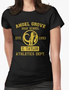 Angel Grove H.S. (Black Ranger Edition) Womens Fitted T-Shirt