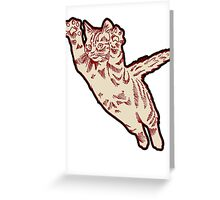 Flying Cat in Cream & Maroon  Greeting Card