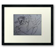 Boyfriend contemplates T.V. #2 Framed Print