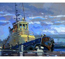 Tug boat in the rain by David  Kennett