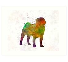 Pug 01 in watercolor Art Print