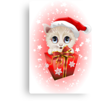 Kitten Christmas Santa with Big Red Gift Canvas Print