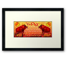1947 2007 Chinese zodiac born in year of Fire Pig by Valxart.com Framed Print
