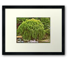 Willow Tree and Boat nature and nautical photography Framed Print