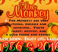 1956 2016 Chinese zodiac born in year of Fire Monkey  by Valxart