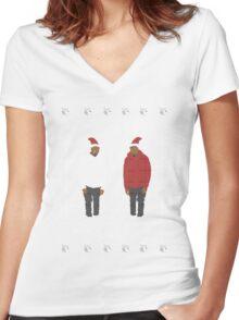 Sad Kanye Holiday Sweater! Women's Fitted V-Neck T-Shirt