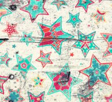 Grunge Stars on Shabby Chic White Painted Wood Sticker
