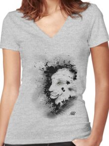 Ink Lion Women's Fitted V-Neck T-Shirt