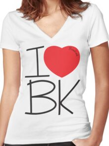 Bone Kandi - I Love BK Women's Fitted V-Neck T-Shirt