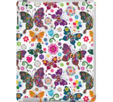 Colorful Retro Butterfly's And Flowers Pattern iPad Case/Skin
