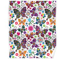 Colorful Retro Butterfly's And Flowers Pattern Poster