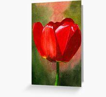 Red Petals Watercolor Greeting Card