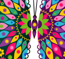 Colorful Retro Butterfly's And Flowers Pattern Sticker