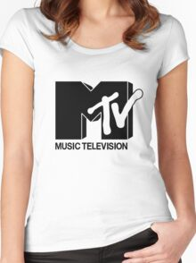 Black MTV Women's Fitted Scoop T-Shirt
