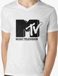 Black MTV Mens V-Neck T-Shirt