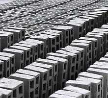Rows of Concrete Bricks Drying by rhamm