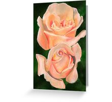 Twin Roses Watercolor Greeting Card