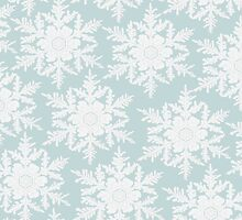 Wedgewood Blue Winter Christmas Snowflake Design by Nicola  Pearson