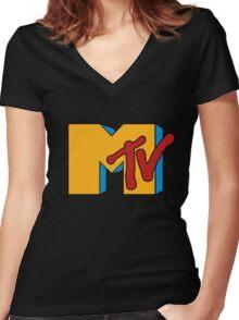 Retro MTV Women's Fitted V-Neck T-Shirt