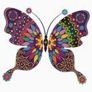 Colorful Abstract Retro Butterfly by artonwear