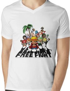 one piece free fight  Mens V-Neck T-Shirt