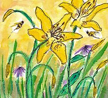 Lilies and Bees Watercolor by AngelaBishop