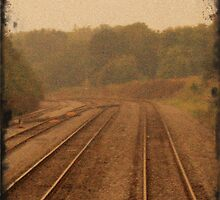 Railroad Tracks Sepia 2 by tonyaleigh