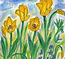 Yellow Tulips II Watercolor by AngelaBishop
