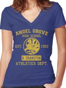 Angel Grove H.S. (Blue Ranger Edition) Women's Fitted V-Neck T-Shirt
