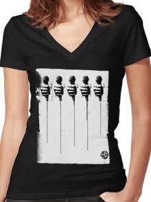 Five Mics - Black/White Women's Fitted V-Neck T-Shirt