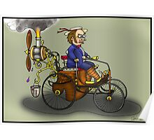 Steampunk vintage Peugeot style car Poster