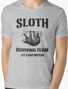 Sloth Running Team. Let's Nap Instead Mens V-Neck T-Shirt