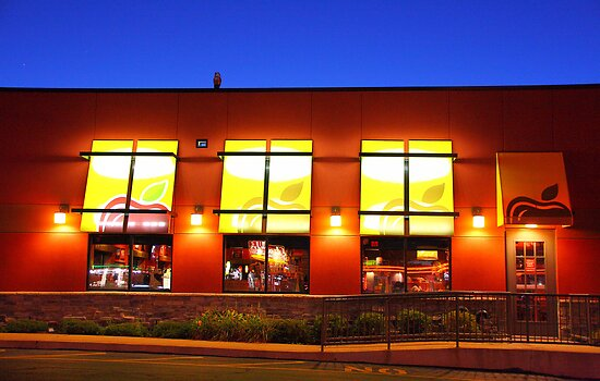 Restaurant's  windows at night - another view  by henuly1