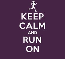 Keep Calm and Run On (DS/Female) Womens Fitted T-Shirt