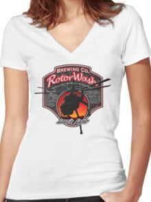 RotorWash Brewing Co. - Lean'n Lager Skycrane Women's Fitted V-Neck T-Shirt