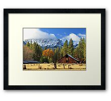 Autumn Barn At Thompson Peak Framed Print
