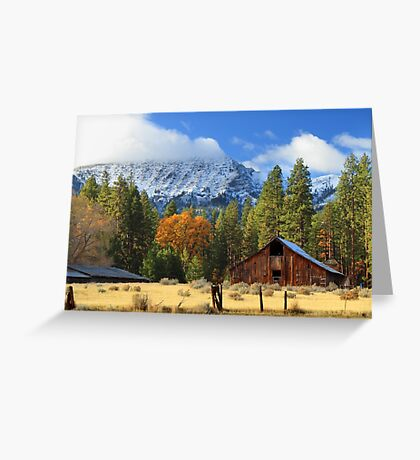 Autumn Barn At Thompson Peak Greeting Card
