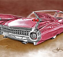 59 Cadillac drawing coloured by John Harding