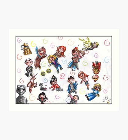 Doctor Who - No gravity chibies Art Print
