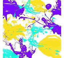 yellow and purple paint splash Photographic Print