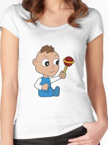 Cartoon baby playing with toy Women's Fitted Scoop T-Shirt