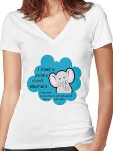 Puppy sized elephants. <3 DFTBA Women's Fitted V-Neck T-Shirt