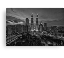 The Twin Towers at Sunset (B&W) Canvas Print
