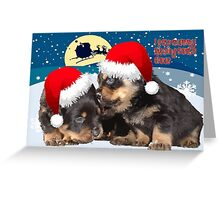 Puppy Christmas: I saw Mummy Kissing Santa Claus Vector Greeting Card