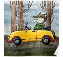 Wolf Driving Poster