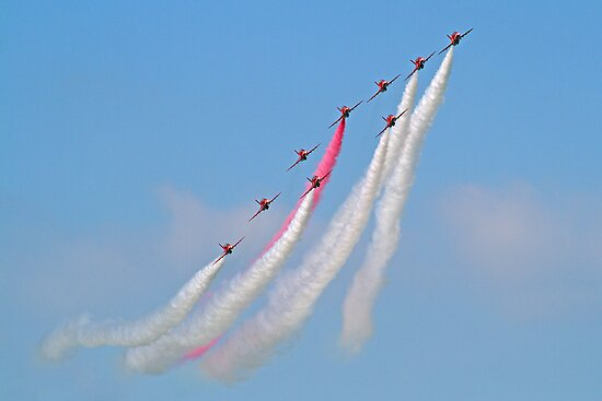 Hey Mr Blue Sky !! - The Red Arrows - Dunsfold 2013 by Colin J Williams Photography